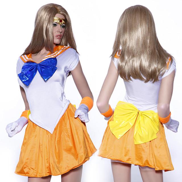 Innoittamana Sailor Moon Sailor Venus Anime Cosplay-asut Japani Cosplay Puvut Hihaton Leninki Käsineet Headband Käyttötarkoitus Naisten / Satiini
