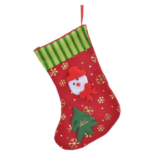 Snowman + Tree + Snowflakes Pattern Decorative Christmas Gift Sock - Red