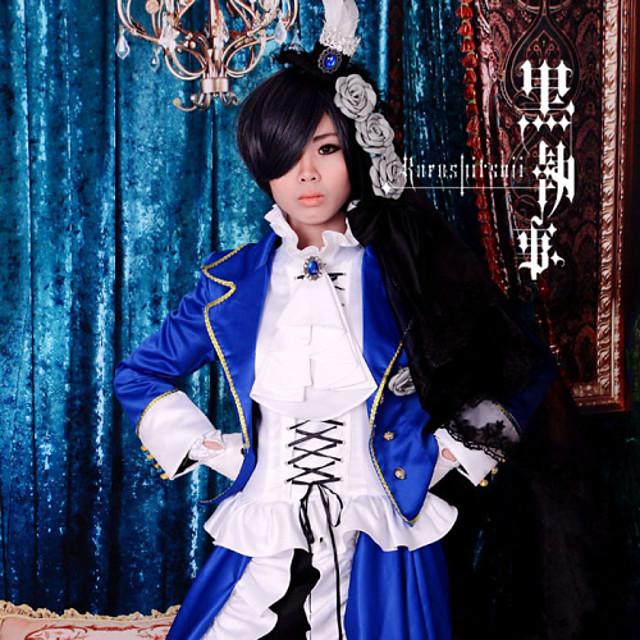 Details about  /Black Butler Kuroshitsuji Ciel Outfit Blue Lady Velvet Hat Cosplay Costume Suit