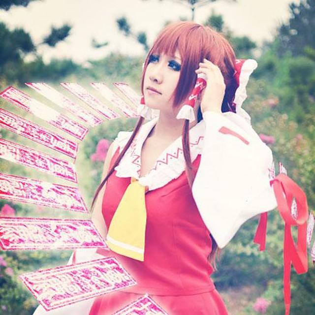 Inspired by Cosplay Reimu Hakurei Video Game Cosplay Costumes Cosplay Suits Sleeveless Top Skirt Headpiece Costumes