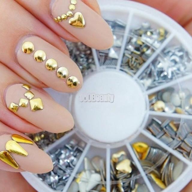 240pcs nail art golden mixed rivet shapes acrylic rhinestone
