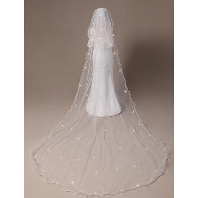 Bridal tulle veil with pearl beads Style 212 Ready to Ship Mini tulle veil with pearls