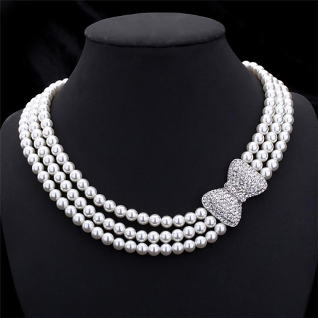 Women's Pearl Choker Necklace Chain Necklace Layered Beads Bowknot Ladies Elegant Bridal Multi Layer Pearl Imitation Pearl Rhinestone Necklace Jewelry For Wedding Party Anniversary Gift Cosplay