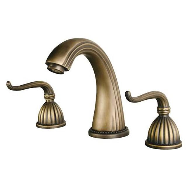 Bathroom Sink Faucet - Retro Vintage Widespread Antique Brass Widespread Three Holes / Two Handles Three HolesBath Taps