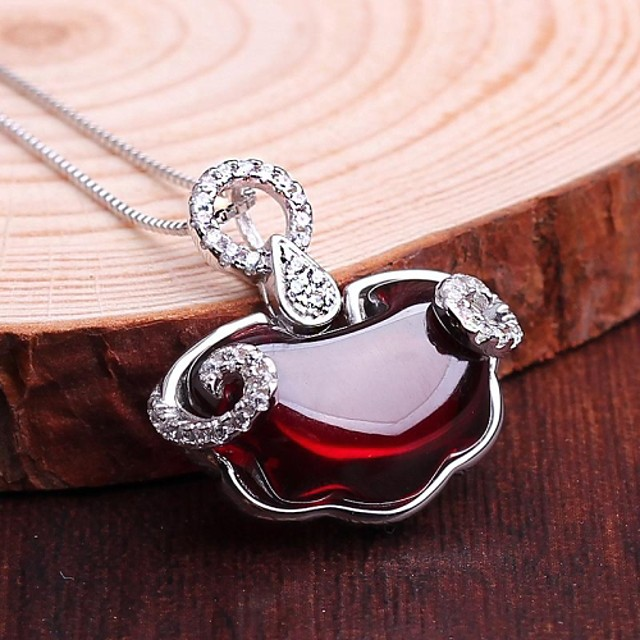Women's Pendant Necklace Synthetic Gemstones Sterling Silver Silver Necklace Jewelry For Wedding Daily Casual