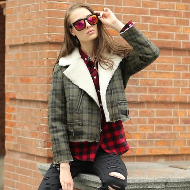 Women Faux Leather Outerwear , Fleece Lining