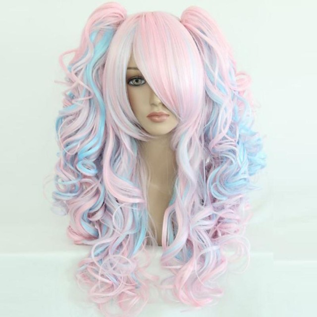 Cosplay Costume Wig Synthetic Wig Sweet Lolita Curly Wavy Loose Wave Natural Wave Curly Wig Blue / Black Rainbow Purple / Blue Pink / Blonde Pink blue Synthetic Hair 25 inch Women's Blonde Multi-color