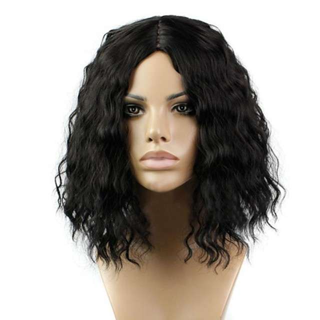 Synthetic Wig Curly Kinky Curly Kinky Curly Curly Middle Part Wig Blonde Short Medium Length Natural Black Synthetic Hair 12 inch Women's Women Blonde Black