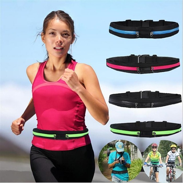 Running Belt Fanny Pack Waist Bag / Waist pack 1 L for Marathon Camping / Hiking Hunting Fishing Sports Bag Multifunctional Portable Rain Waterproof Polyester Canvas Terylene Running Bag / iPhone X
