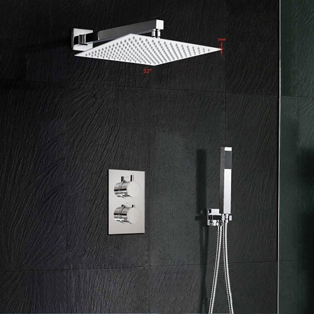 Shower Set Set - Rainfall Contemporary Chrome Wall Mounted Brass Valve Bath Shower Mixer Taps / Two Handles Two Holes