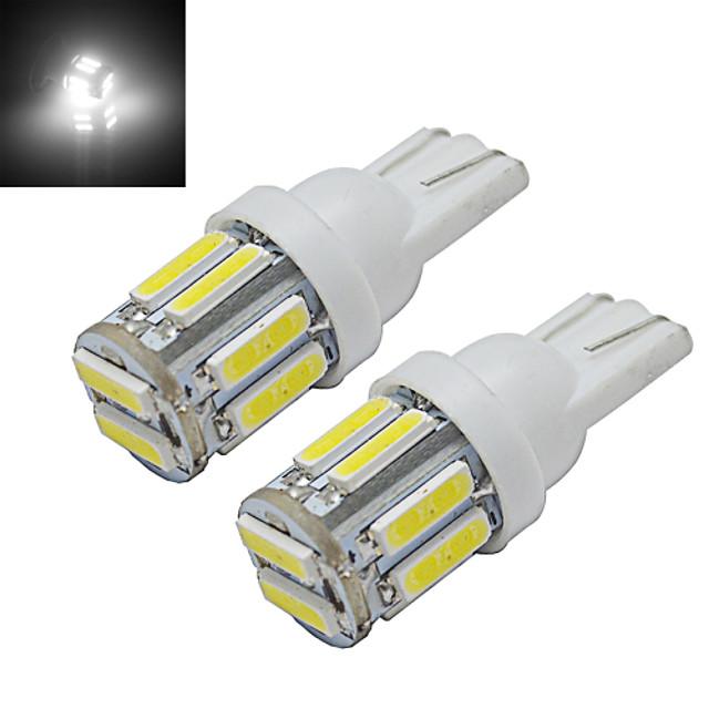 2pcs 1W T10 LED W5W Car Bulb Wedge Map Lamp Light 10 leds SMD 7020 Cold White DC 12V