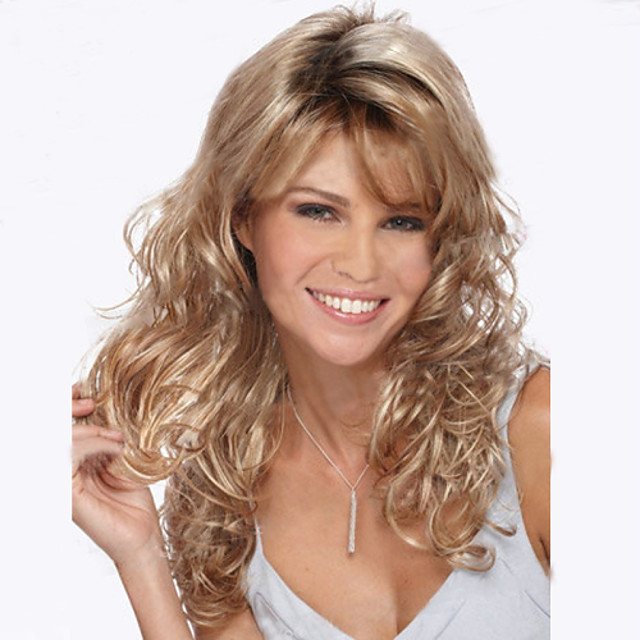 Synthetic Wig Natural Wave Kinky Curly Wig Blonde Long Strawberry Blonde#27 Women's Blonde