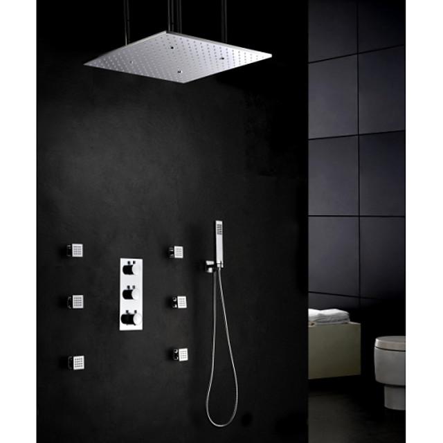 Shower Set Set - Rain Shower Contemporary Chrome Wall Mounted Brass Valve Bath Shower Mixer Taps / Three Handles Five Holes