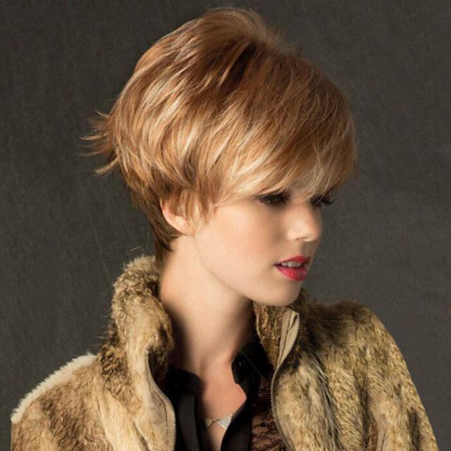 Human Hair Blend Wig Straight Short Hairstyles 2020 Straight Capless Dark Brown Auburn Red Mixed Black
