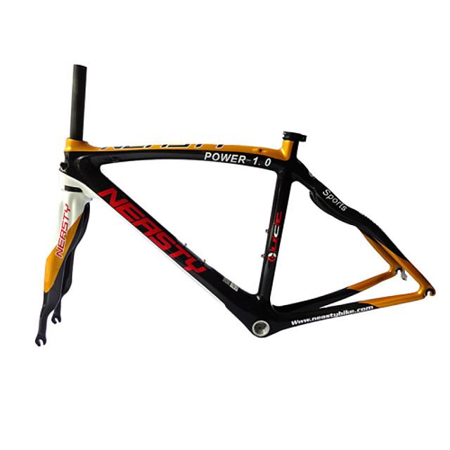 Neasty Brand 700C Full Carbon Fiber Frame and Fork 3K Gold Color Decal Carbon Black 48/50/52/56CM
