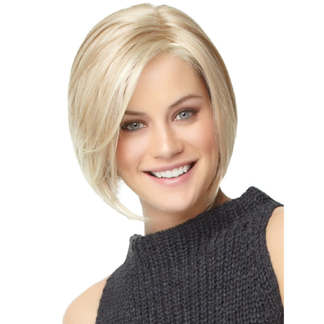 Synthetic Wig Straight Straight Bob With Bangs Wig Blonde Synthetic Hair Women's With Bangs Blonde StrongBeauty