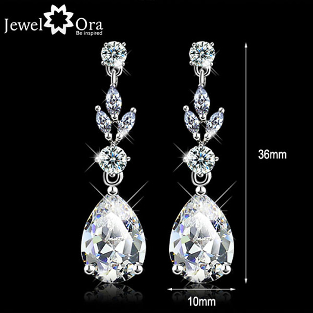 Women's Diamond Cubic Zirconia tiny diamond Drop Earrings Pear Cut Solitaire Dangling Dangle Ladies Elegant Zircon Cubic Zirconia Earrings Jewelry White For Wedding Masquerade Engagement Party Prom
