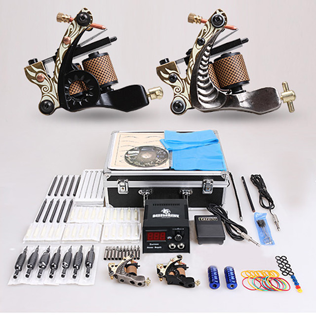 DRAGONHAWK Professional Tattoo Kit Tattoo Machine - 2 pcs Tattoo Machines LCD power supply 2 cast iron machine liner & shader / Case Included