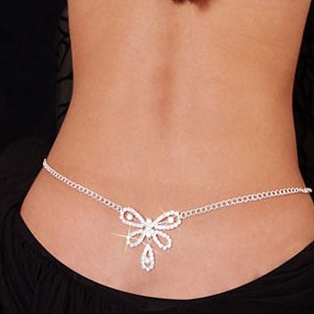 Belly Body Chain Body Chain Ladies Unique Design Fashion Women's Body Jewelry For Christmas Gifts Daily Rhinestone Imitation Diamond Heart Bowknot White / Waist Chain