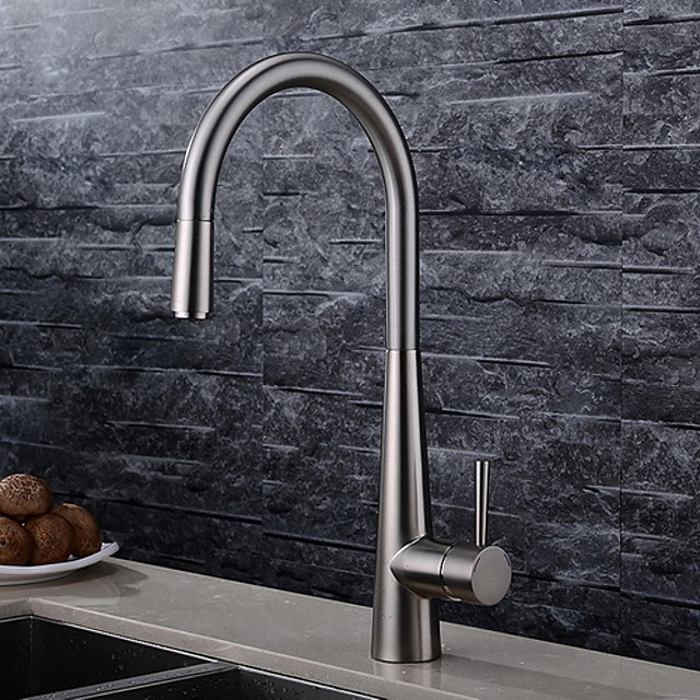 Pullout Kitchen faucet Tall- One Hole Brushed Standard Spout High Arc Deck Mounted Contemporary Kitchen Taps / Brass / Single Handle One Hole