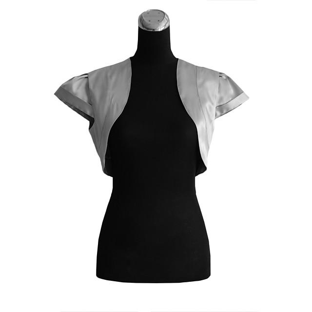 Short Sleeve Shrugs Satin Wedding / Party Evening Wedding  Wraps With