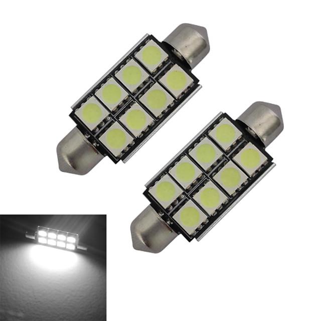 2pcs 42mm 1.5W 150lm Car Light Bulbs 8LEDs SMD 5050 Reading Light Cold White DC 12 V