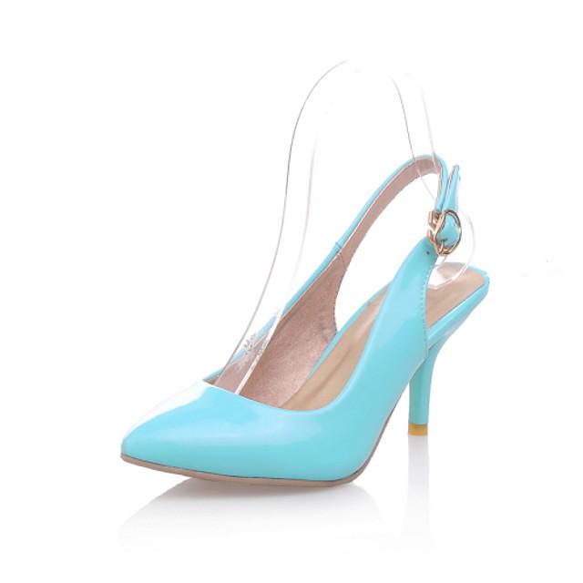 Women's Heels Plus Size Kitten Heel Pointed Toe Comfort Party & Evening Office & Career Buckle Patent Leather Walking Shoes Summer Black / Red / Light Purple / 2-3 / EU39