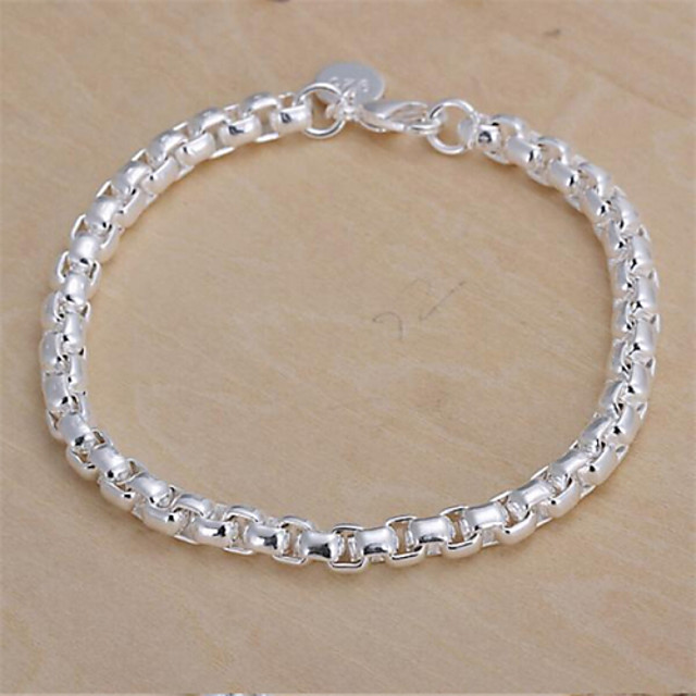 Chain Bracelet Ladies Classic Sterling Silver Bracelet Jewelry For Christmas Gifts Wedding Party Daily Casual / Silver Plated