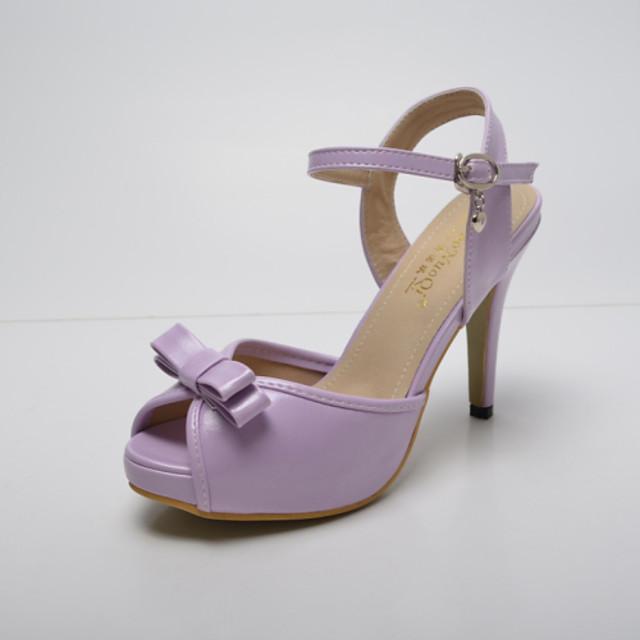 Women's Leatherette Summer Stiletto Heel Bowknot / Buckle White / Purple / Pink