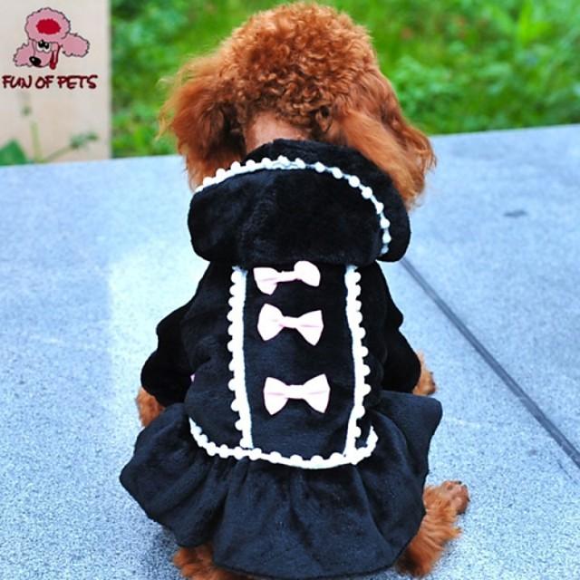 Cat Dog Coat Hoodie Dress Bowknot Cosplay Wedding Outdoor Winter Dog Clothes Black Pink Costume Polar Fleece Cotton XXS XS S M L