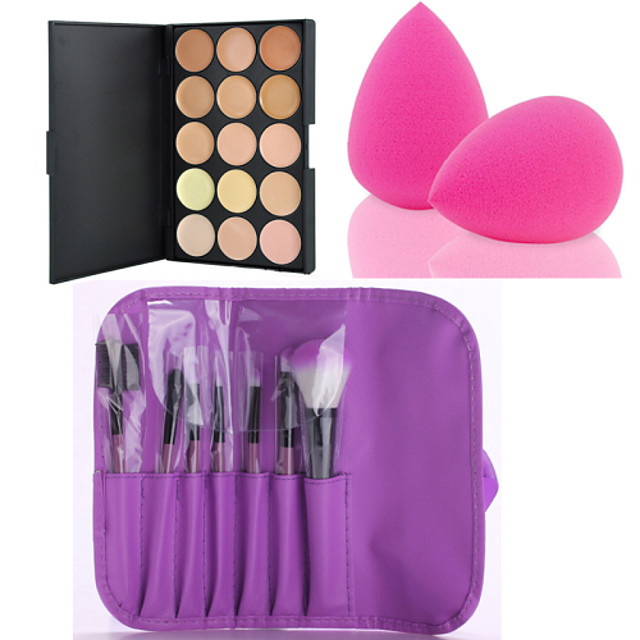 hot-sale-15-colors-contour-face-cream-makeup-concealer-palette-7pcs-purple-makeup-brushes-set-kit-powder-puff