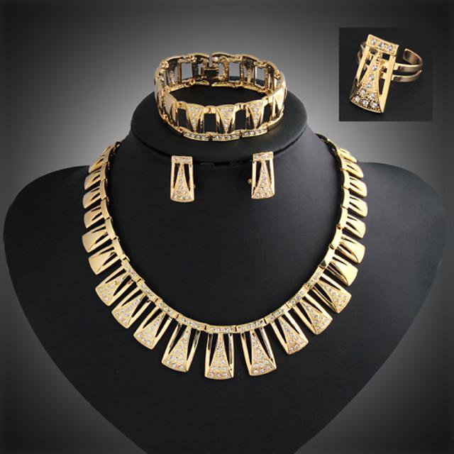 Lucky Doll Women's Vintage 18K Gold Plated Zirconia Geometric Tassel Necklace & Earrings & Bracelet & Ring Jewelry Sets