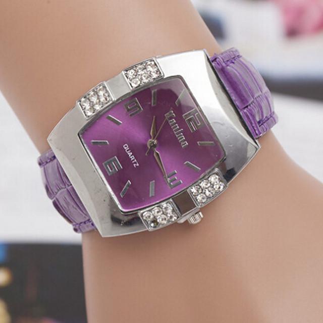 여성용 패션 시계 다이아몬드 시계 스퀘어 시계 석영 숙녀 캐쥬얼 시계 가죽 블랙 / 블루 / 핑크 아날로그 - 화이트 블랙 퍼플 1 년 배터리 수명 / SOXEY SR626SW