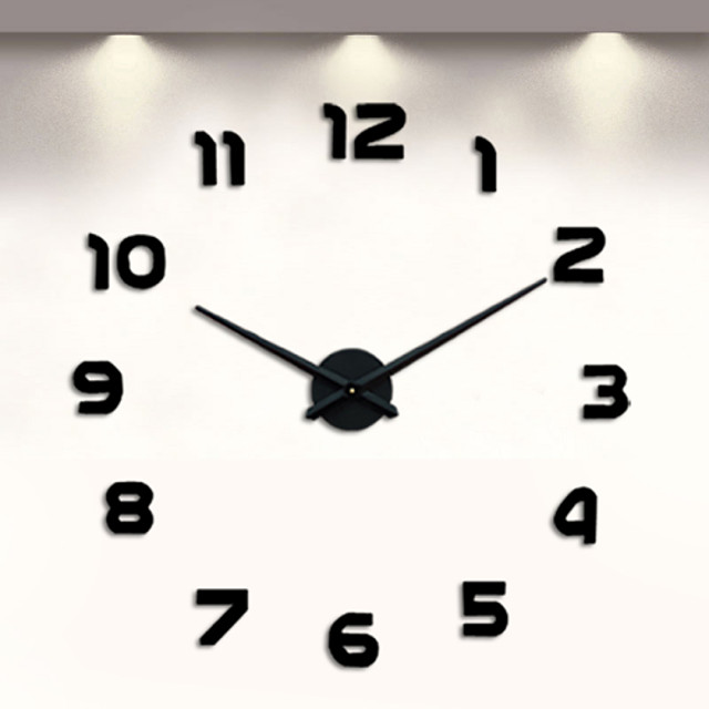 Frameless DIY Wall Clock, 3D Wall Clock Large Mute Wall Stickers for Living Room Bedroom Home Decorations (Black)