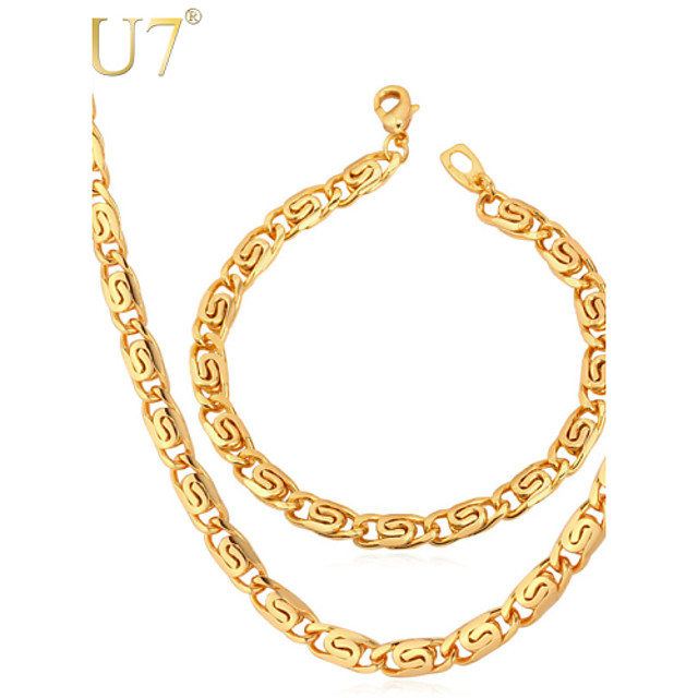 U7 Men S Snail Chain Bracelet 18k Gold Plated Classic Chain Necklace Simple Gold Chains Men Jewelry Set 3968882 2020 37 68