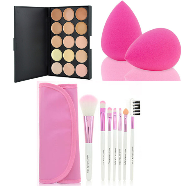hot-sale-15-colors-contour-face-cream-makeup-concealer-palette-7pcs-pink-makeup-brushes-set-kit-powder-puff
