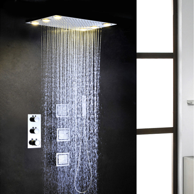 ברז למקלחת הגדר - שפורפרת יד כלולה תרמוסטטי LED עכשווי כרום שסתום פליז Bath Shower Mixer Taps