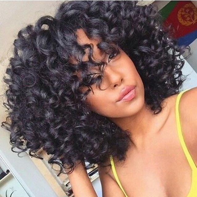 Peluca Pelo Natural Agarre en U Encaje Frontal Cabello Brasileño Kinky Curly Mujer Densidad 130% 10-30 pulgada Corta Media Larga Negro Azabache Negro Marrón Oscuro Pelucas de Cabello Natural