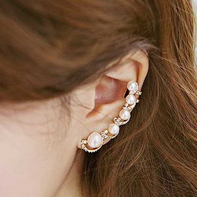Women's Pearl Ear Cuff One Earring Ear Climbers Ladies Personalized Fashion Pearl Imitation Pearl Cubic Zirconia Earrings Jewelry Gold For