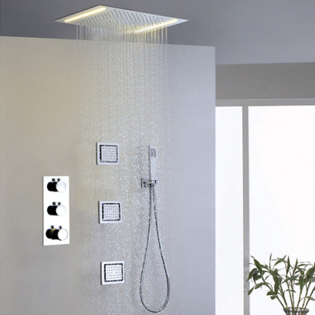 Shower Faucet Set - Handshower Included Thermostatic LED Contemporary Chrome Brass Valve Bath Shower Mixer Taps