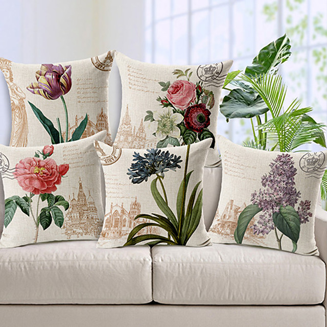 Set of 5 Cotton / Linen Pillow Cover, Floral Country Throw Pillow