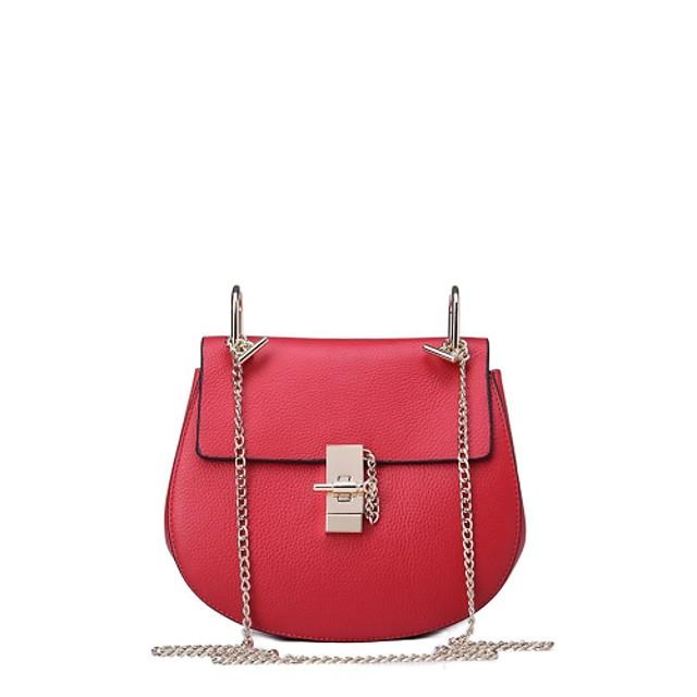 ผู้หญิง กระเป๋าต่างๆ ทุกฤดู หนังวัว กระเป๋าสะพาย สำหรับ ที่มา เป็นทางการ สีดำ แดง สีแดงเข้ม