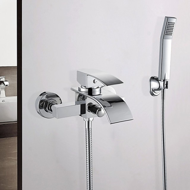 Contemporary Chrome Wall Mounted Ceramic Valve Bath Shower Mixer Taps / Brass / Single Handle Two Holes Bathtub Faucet