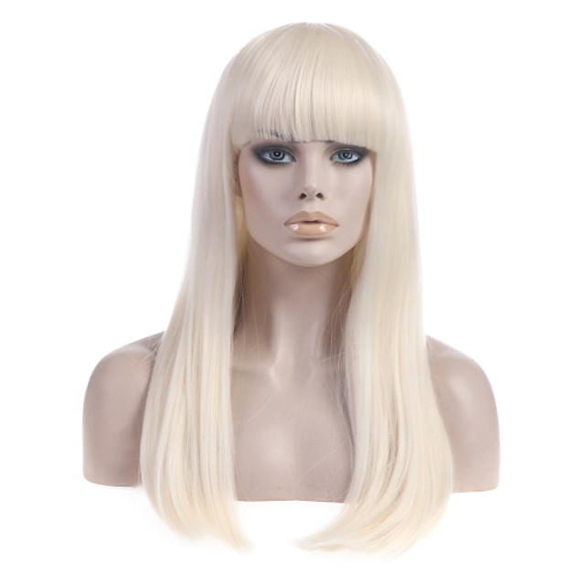 Synthetic Wig Straight Straight With Bangs Wig Blonde Long Light Blonde Synthetic Hair Women's With Bangs Blonde StrongBeauty
