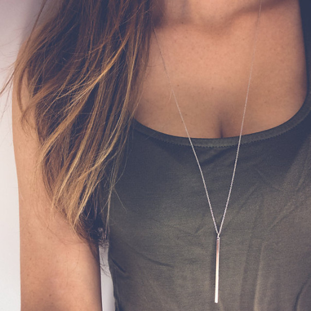 Women's Pendant Necklace Y Necklace Bar Dainty Ladies Simple Fashion Alloy Necklace Jewelry For Party Daily Casual / Long Necklace