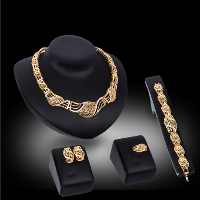 Lucky Doll Women's Vintage 18K Gold Plated Zirconia Cut Out Necklace & Earrings & Bracelet & Ring Jewelry Sets