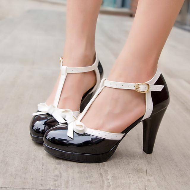 Women's Cone Heel / Platform Bowknot Leatherette Spring / Summer Black / Red / Pink / Dress / EU40