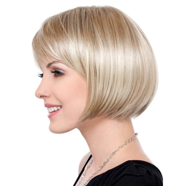 Synthetic Wig Straight Straight Bob Wig Blonde Short Blonde Synthetic Hair Women's Blonde StrongBeauty