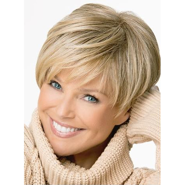 Synthetic Wig Straight Straight Pixie Cut With Bangs Wig Blonde Short Light Brown Synthetic Hair Women's Side Part Blonde StrongBeauty