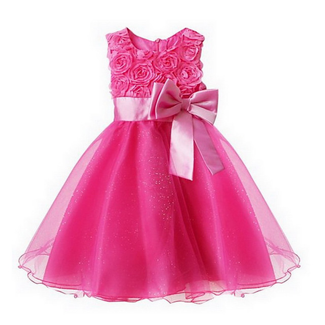 Toddler Girls' Sweet Princess Party Floral Bow Layered Sleeveless Dress Pink